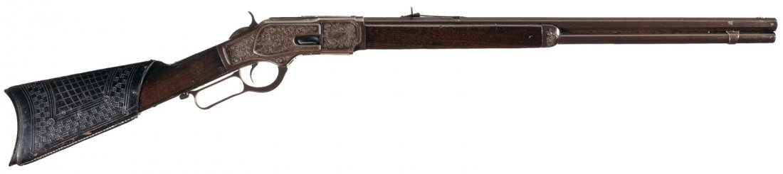 3009: Attractive Engraved Winchester Model 1873 Lever A
