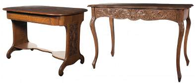 3323: Antique Library Table and Queen Anne Table