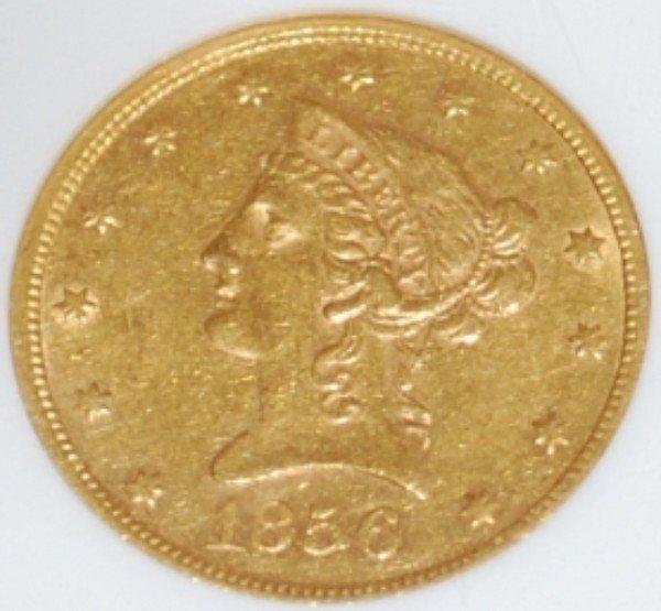 204: 1856-S US $10 Gold Eagle ANACS AU55 Details