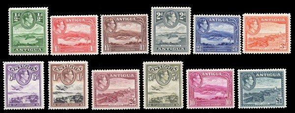 1: Antigua (84-95) 1938-48 1/2p-1Pd. KGVI MNH