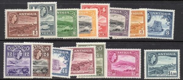 2: Antigua (107-121) 1953-6  1/2p-$4.80 QEII MLH