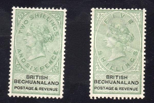 8: Bechuanaland (18-9) 1887 2/6 &5/ Mint LH