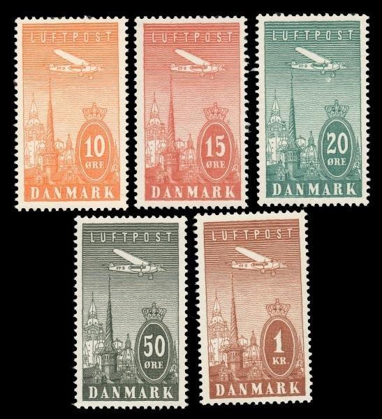 17: Denmark (C6-10) 1934 Airmails MNH