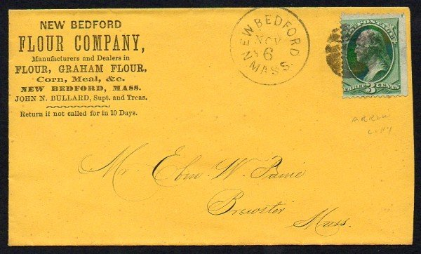 8: US (158) Mass. Cover, Cork Cancel, Arrow Copy
