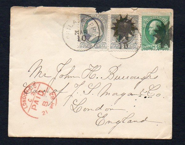 9: US (182, 184) Phila. to England Fancy Cancel