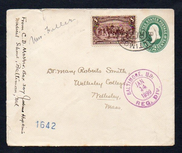 22: US (289) John Hopkins to Wellesley Cover 1899
