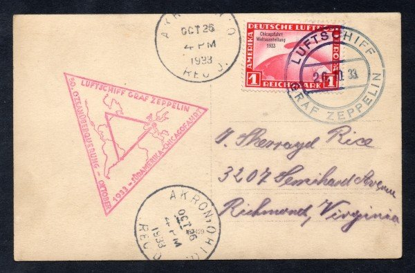 104: Germany (C43) Zeppelin Cover 1933