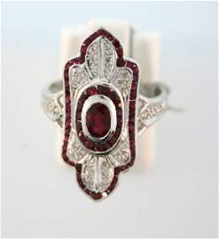 306: Deco Ruby and Diamond Ring