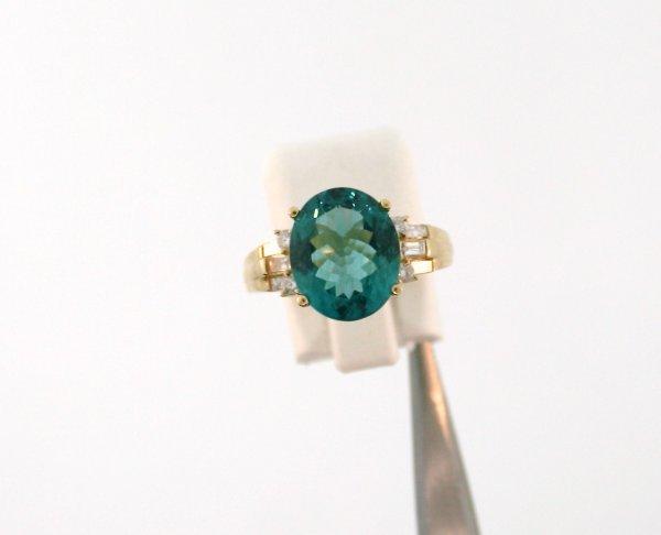 585: Cubric Tourmaline Diamond Ring