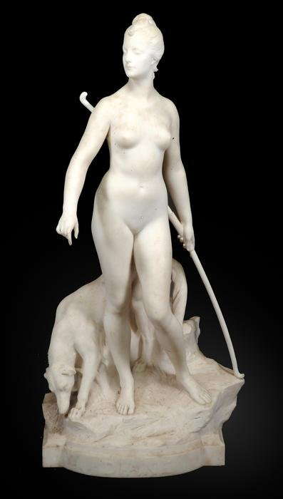 4: A French sculpted white Carrara marble group