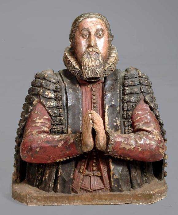 5: A James I sculpted and painted alabaster bust