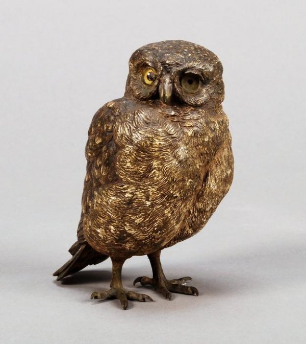 11: A Viennese cold-painted bronze owl