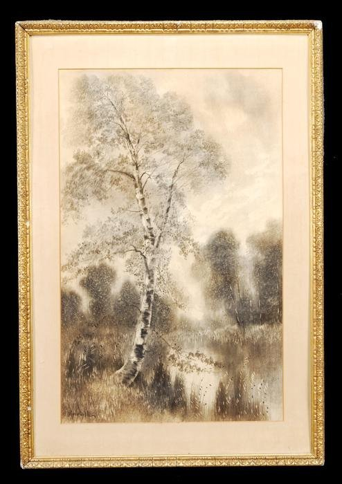 14: A pair of late 19th century charcoal drawings sign