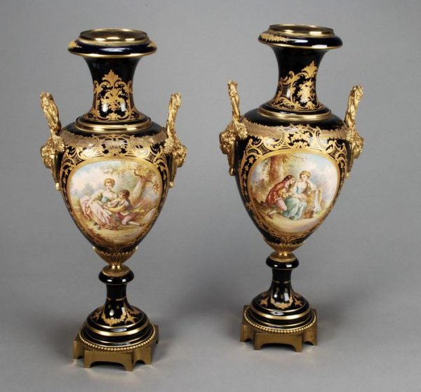 18: A pair of Continental Sevres style porcelain vases