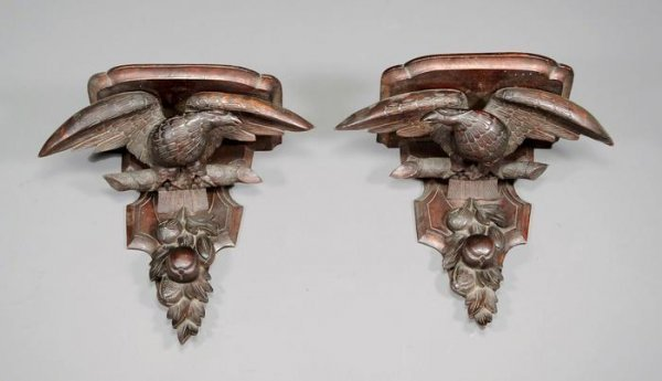 20: A pair of  mahogany wall brackets, George III style