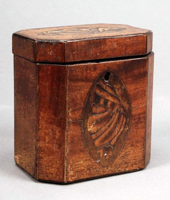 21: A George III mahogany and marquetry tea caddy