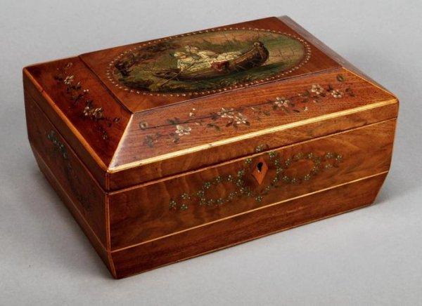 23: A mahogany and painted sewing box, 19th century
