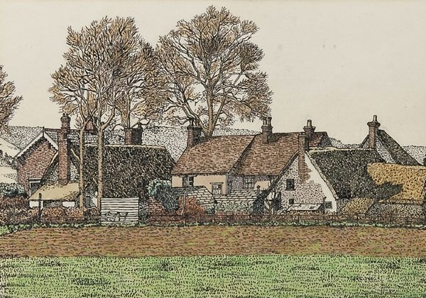 1: Charles Ginner - Group of Cottages, Chinnor