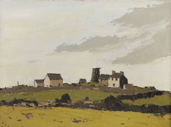 177: Sir Kyffin Williams - Cottages in a landscape