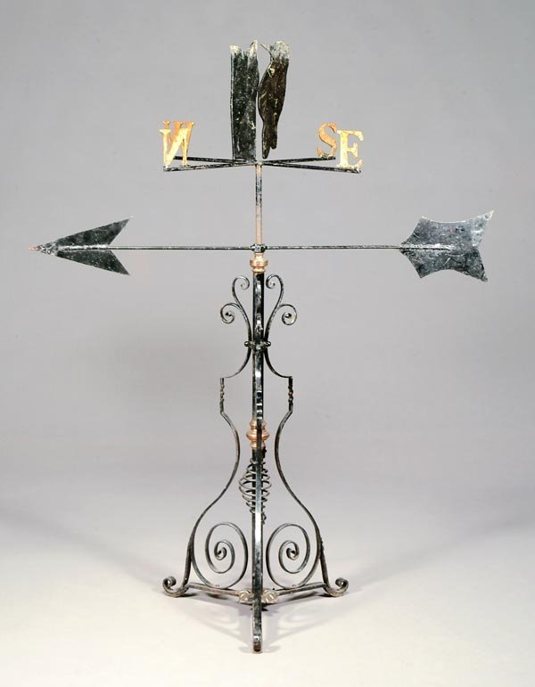 1: A wrought iron weather vane, 20th century, wi