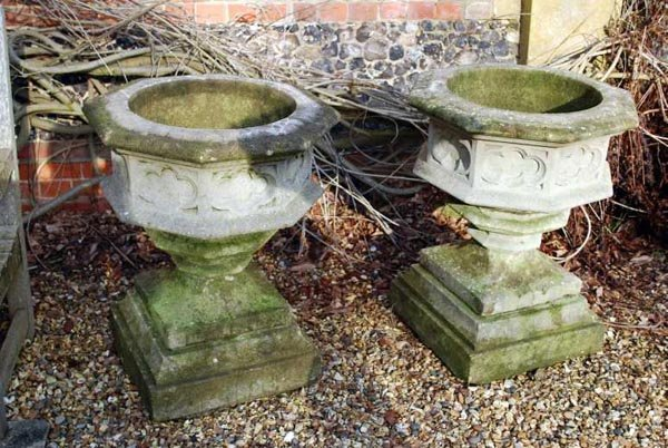 3: A pair of reconstituted stone garden planters