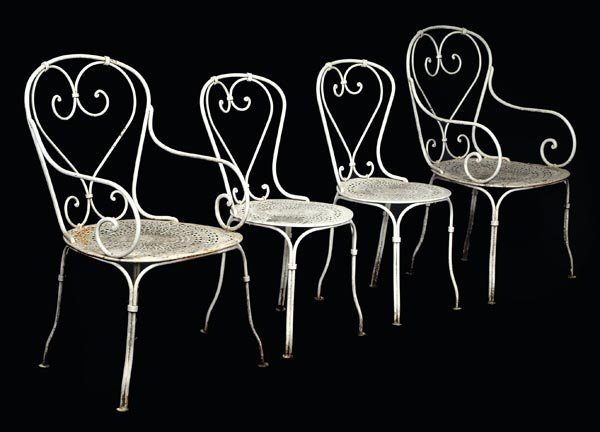 11: A set of four white painted wrought iron gard