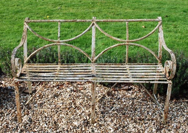 14: A Regency painted wrought iron garden bench,c