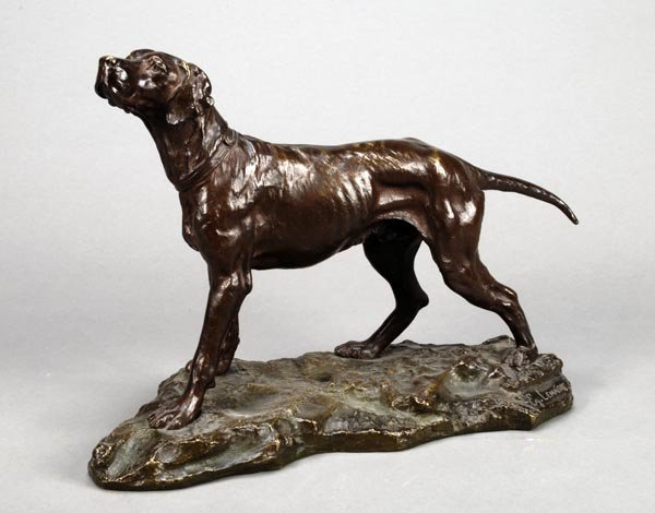 25: A French bronze model of a pointer, late 19th