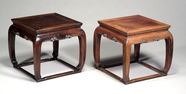 492: A pair of Chinese hardwood occasional tables