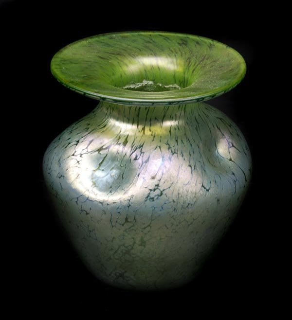 3: A Loetz Papillon green glass vase, ovoid with anev