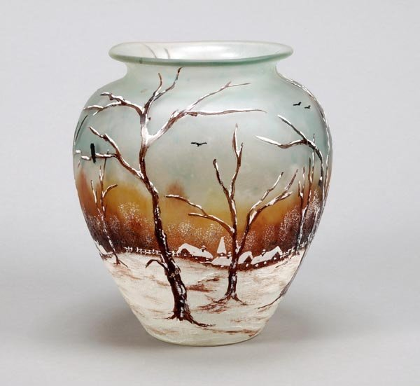 8: A Legras & Cie. enamelled glass ovoid vase,painted
