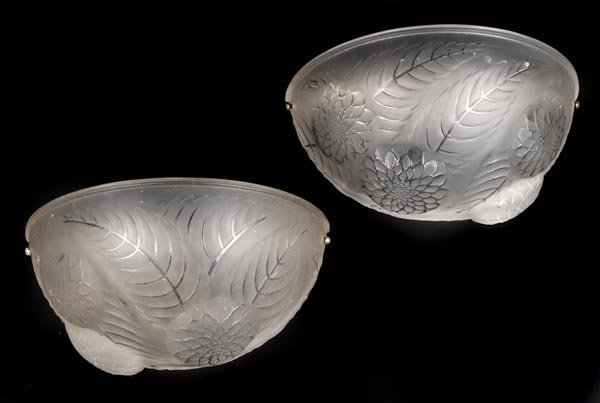 24: 'Dahlias', two Lalique frosted glass wallappliques