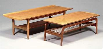 238: A Danish teak coffee table, with a split caneunder