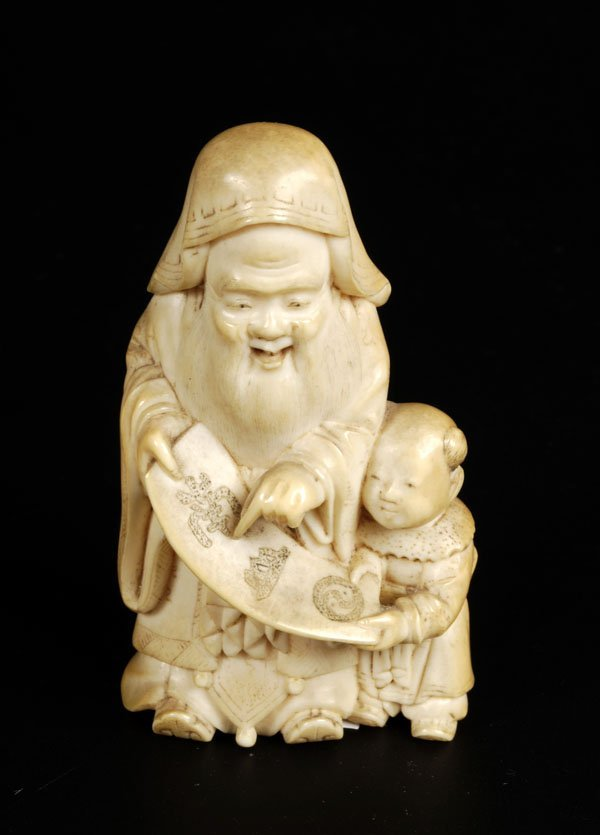 704: A Japanese marine ivory okimono, Meiji period, int
