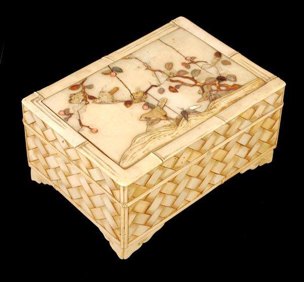 708: A Japanese ivory and shibayama box, late 19thcentu
