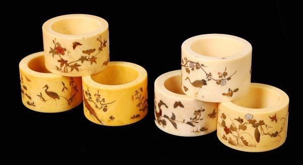 709: A set of six Japanese ivory napkin rings, Meijiper