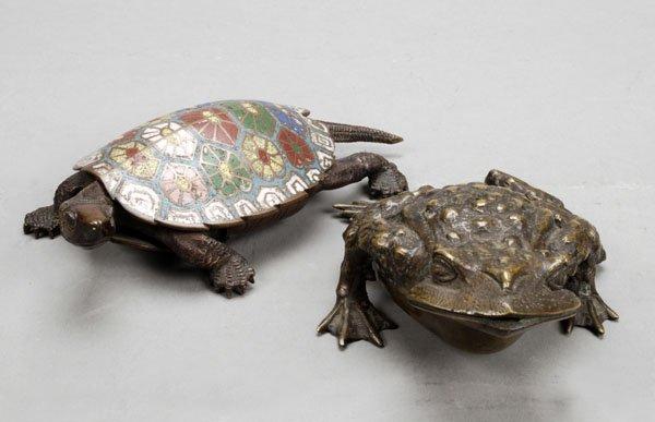718: A Japanese bronze and enamel brushwasher, Meijiper