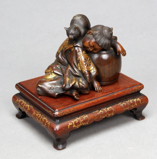 719: MIYAO EISUKE: A good Japanese bronze group, Meijip