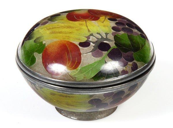 721: A small Japanese round plique-a-jour enamel boxand