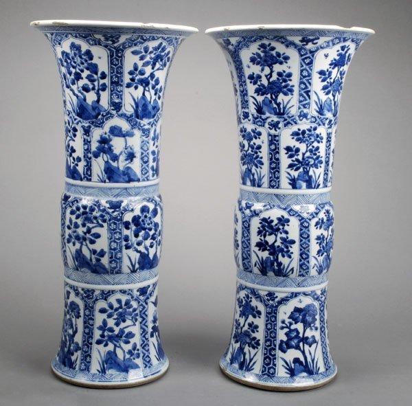 813: A pair of large Chinese gu-shaped underglaze bluev