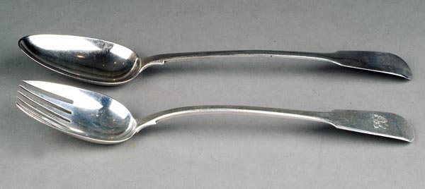 17: A George III silver fiddle pattern salad fork by W