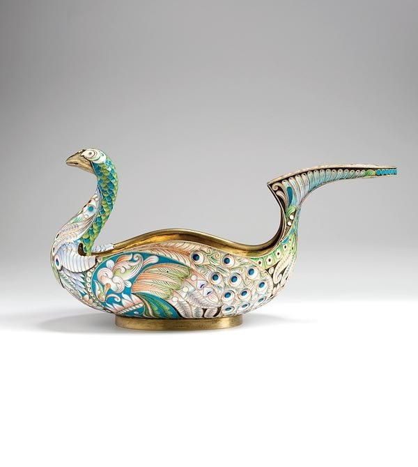 138: A late 19th century Russian cloisonné enamel and s