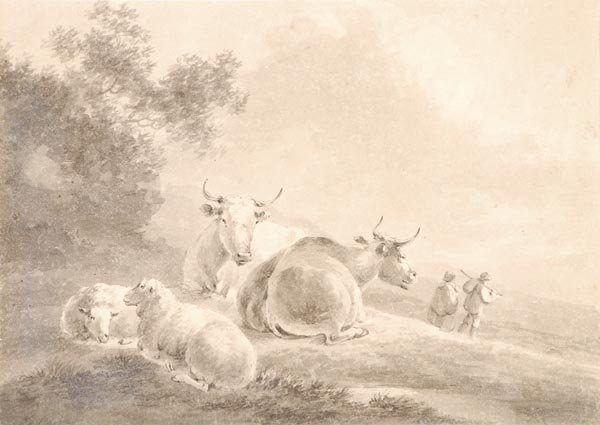 3: Peter La Cave (1769-1811) Sheep and cattle in a fi