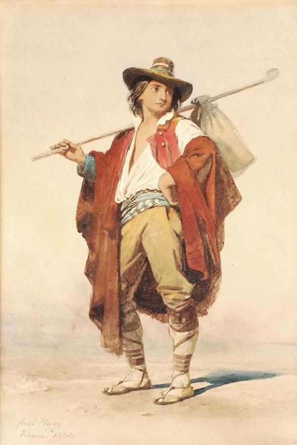11: Carl Haag (1820-1915) An Italian peasant, Watercol