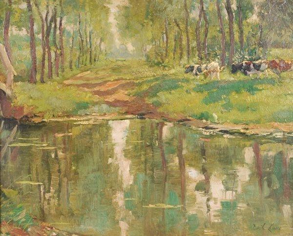 121: Emile Claus (1849-1924) Cattle in sunlit woodland
