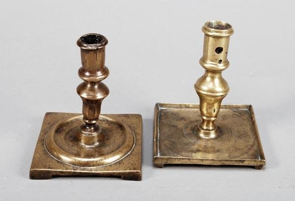 204: A Spanish brass candlestick, late 17th/ early 18th