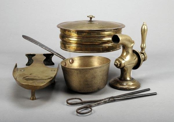 255: Four items of domestic brass ware, 19th century, c