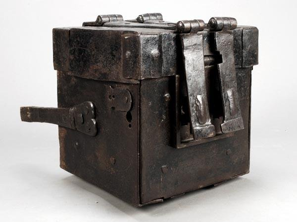 270: An oak and iron clad alms strong box, circa 1700,