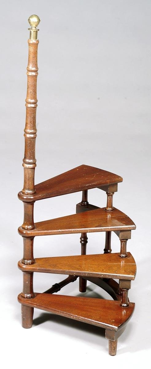 509: A set of mahogany library steps,in Regency style,