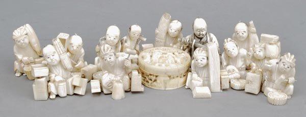 3: Twelve Japanese ivory okimono, early 20th century